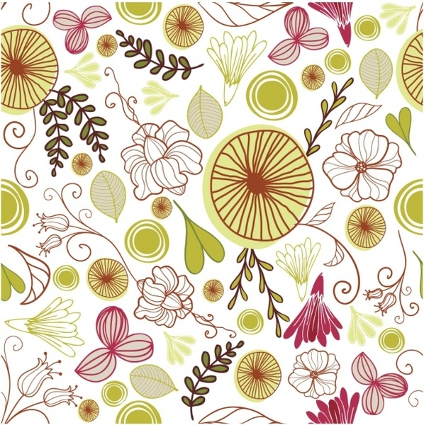 598x600 Flower Motif Vector Free Download Floral Pattern Free Vector In