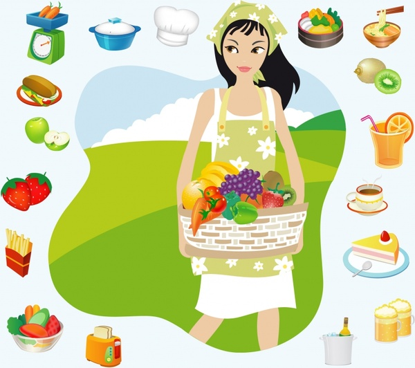 600x532 Housewife Vector Free Vector In Adobe Illustrator Ai ( .ai