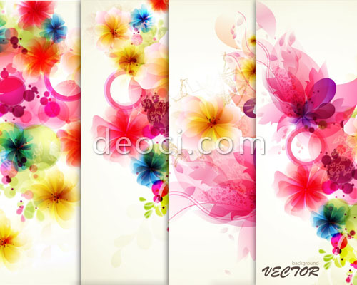 500x400 4 Watercolor Exotic Floral Flower Vector Background Material Adobe
