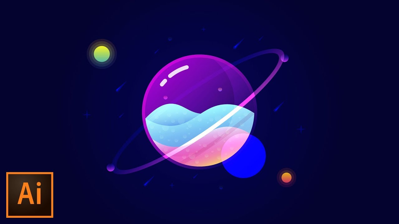 1280x720 Glass Planet Vector Illustration Adobe Illustrator Tutorial
