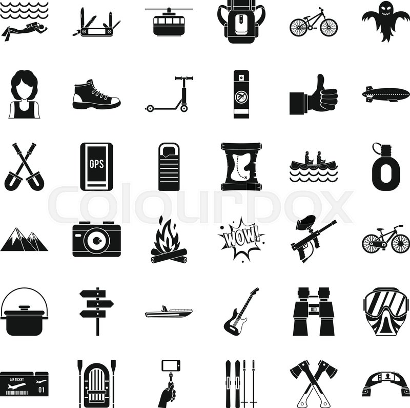 800x795 Nature Adventure Icons Set. Simple Style Of 36 Nature Adventure