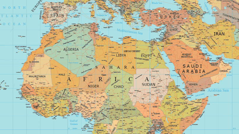 805x452 Africa And Middle East Layered Vector Map Maptorian