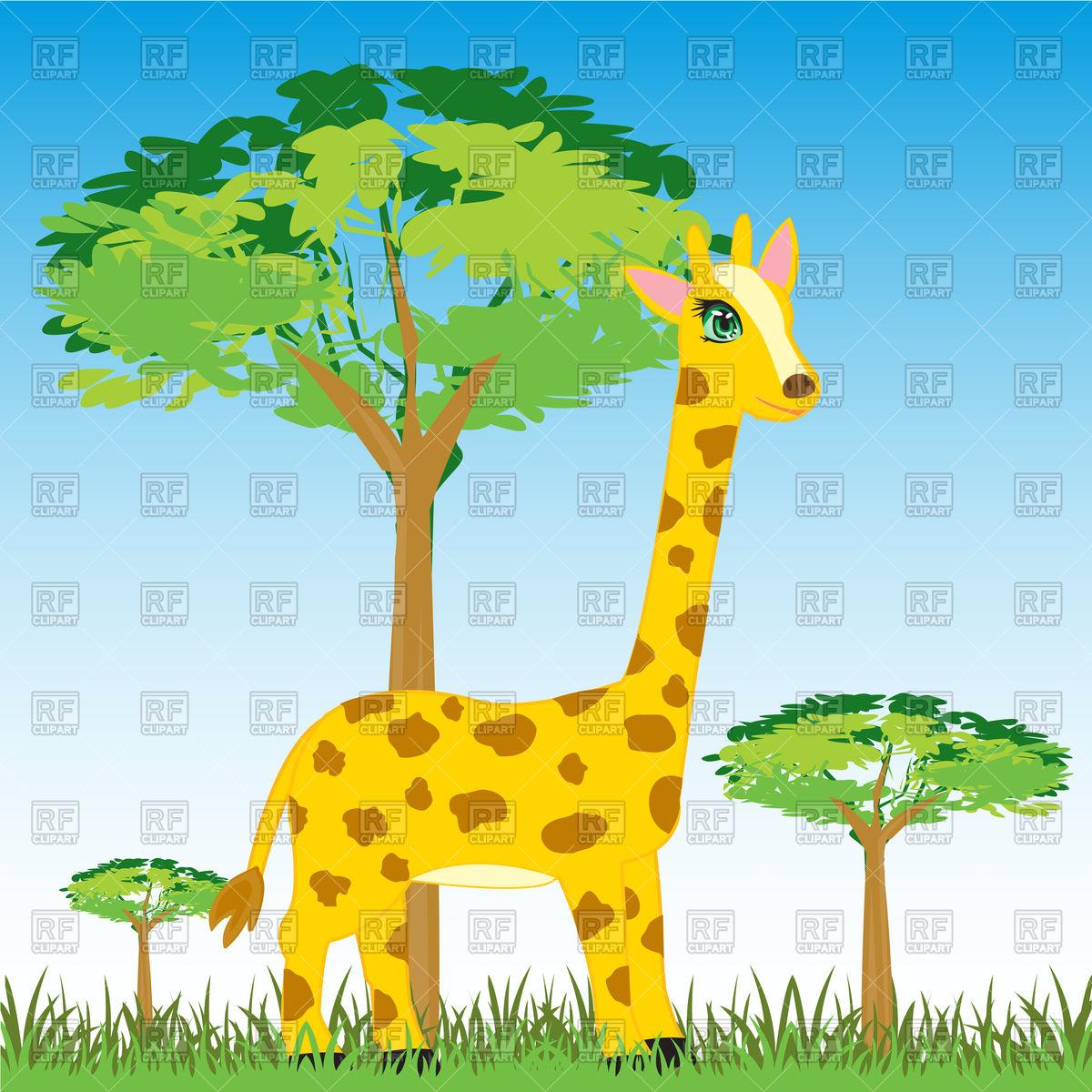 1200x1200 Cartoon Giraffe In Africa Vector Image Vector Artwork Of Plants