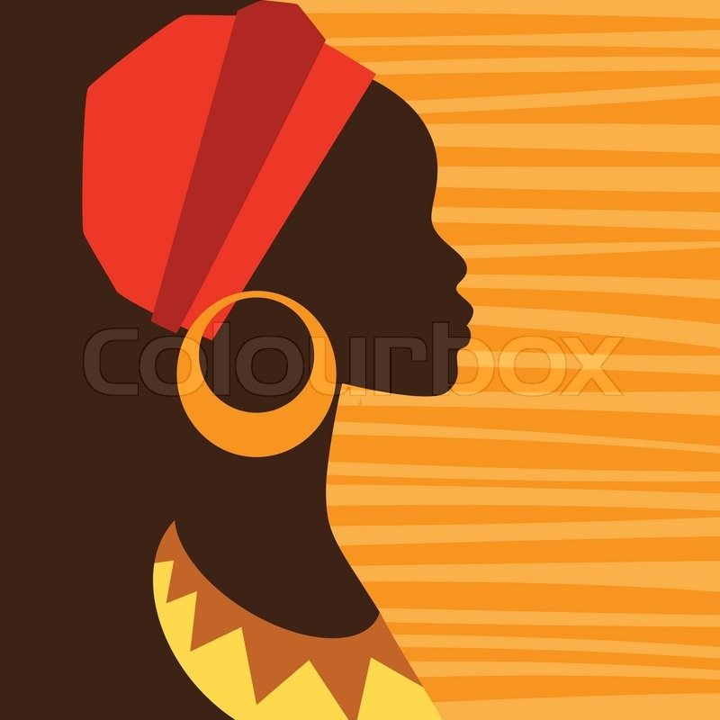 800x800 Silhouette Of African Girl In Profile With Earrings. Stock