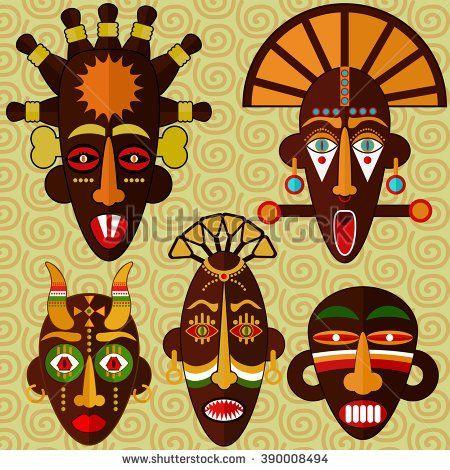 450x470 African Masks Vector Set. Masks African Masks