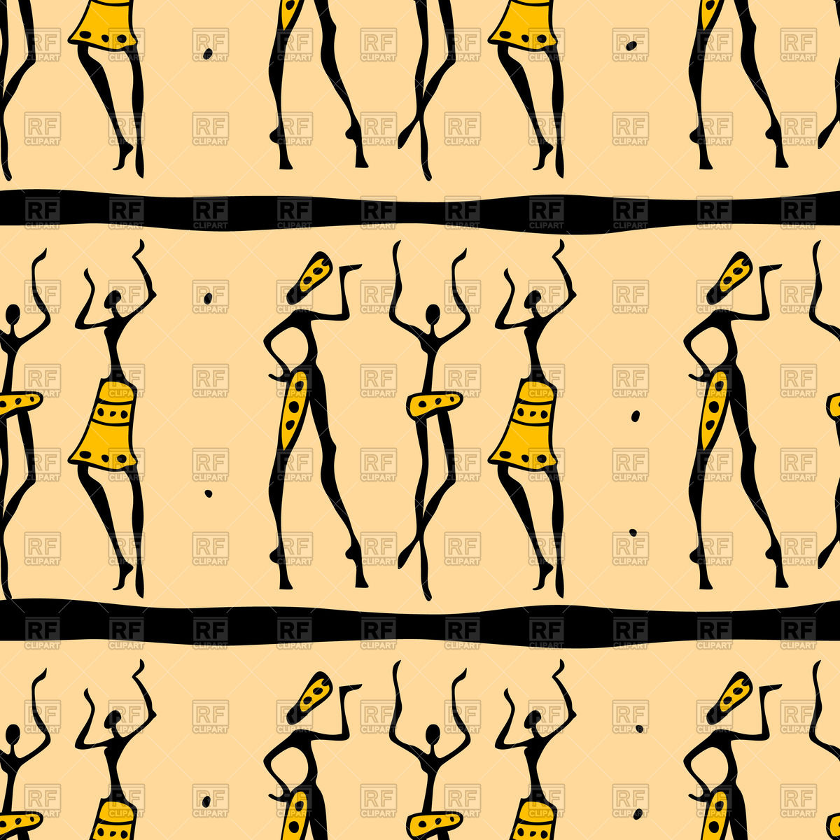 1200x1200 Seamless African Dancers Pattern Vector Image Vector Artwork Of