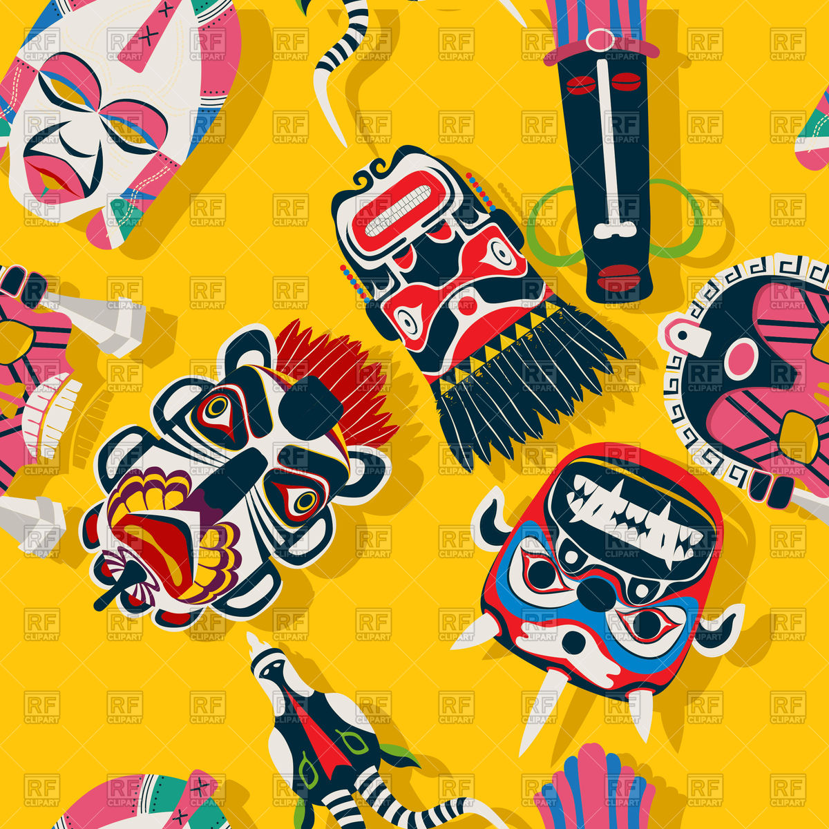 1200x1200 Tribal African Mask Ethnic Seamless Pattern Vector Image Vector
