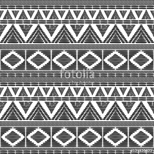 500x500 Tribal Pattern Vector In Black White Colors. Print With African
