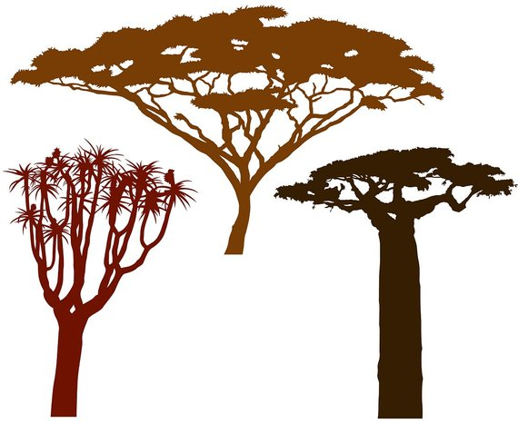 570x466 African Trees Vector File For Home Wall Decals Etsy