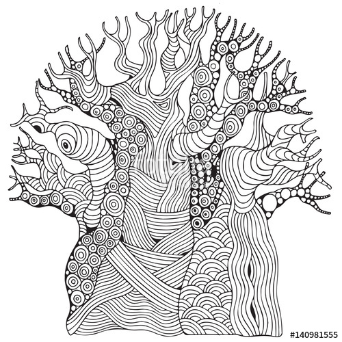 500x500 Baobab Tree. African Tree. Stock Image And Royalty Free Vector