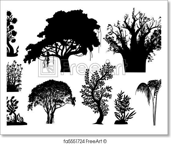 560x470 Free Art Print Of African Trees