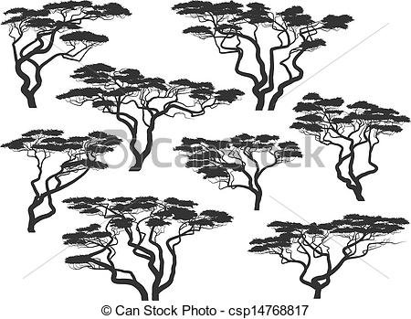 450x349 Silhouettes Of African Acacia Trees. Set Of Vector Silhouettes Of