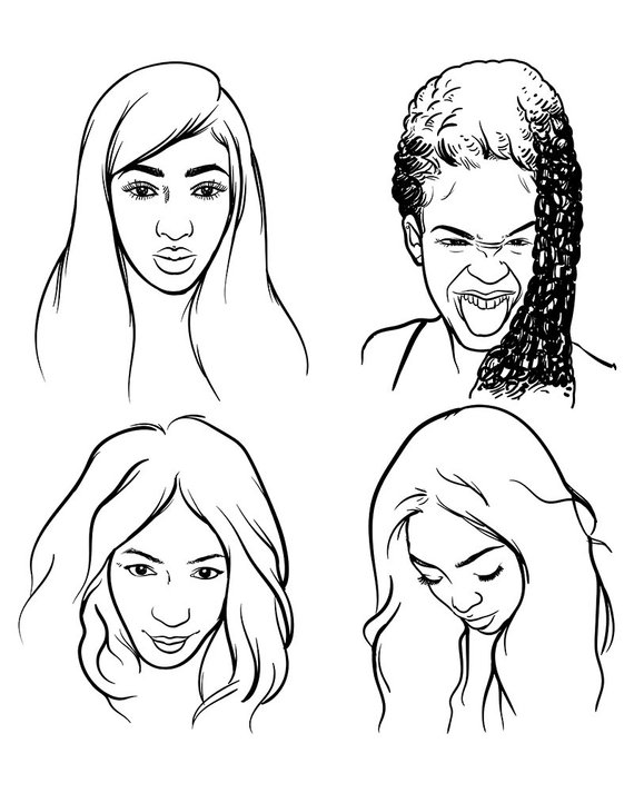 570x713 African Woman Hand Draw Vector Illustration On A White Etsy