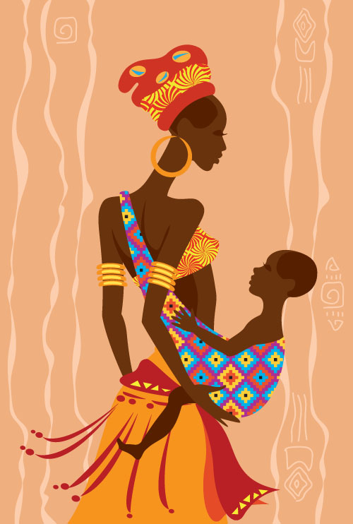 500x742 African Woman Illustrtion Vector Material 07 Free Download