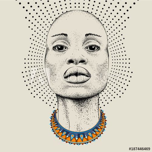 500x500 African Woman With African In Beads, Tribal Background. Beautiful
