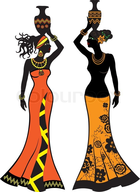 583x800 Beautiful African Woman With Vases, Two Versions Stock Vector