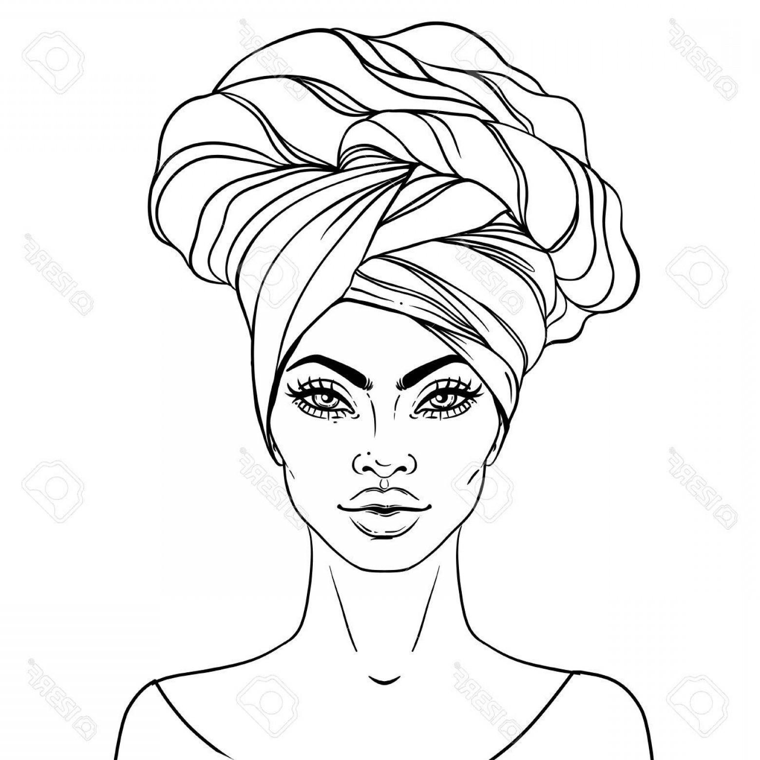 1560x1560 Black Woman Drawing African American Pretty Girl Vector