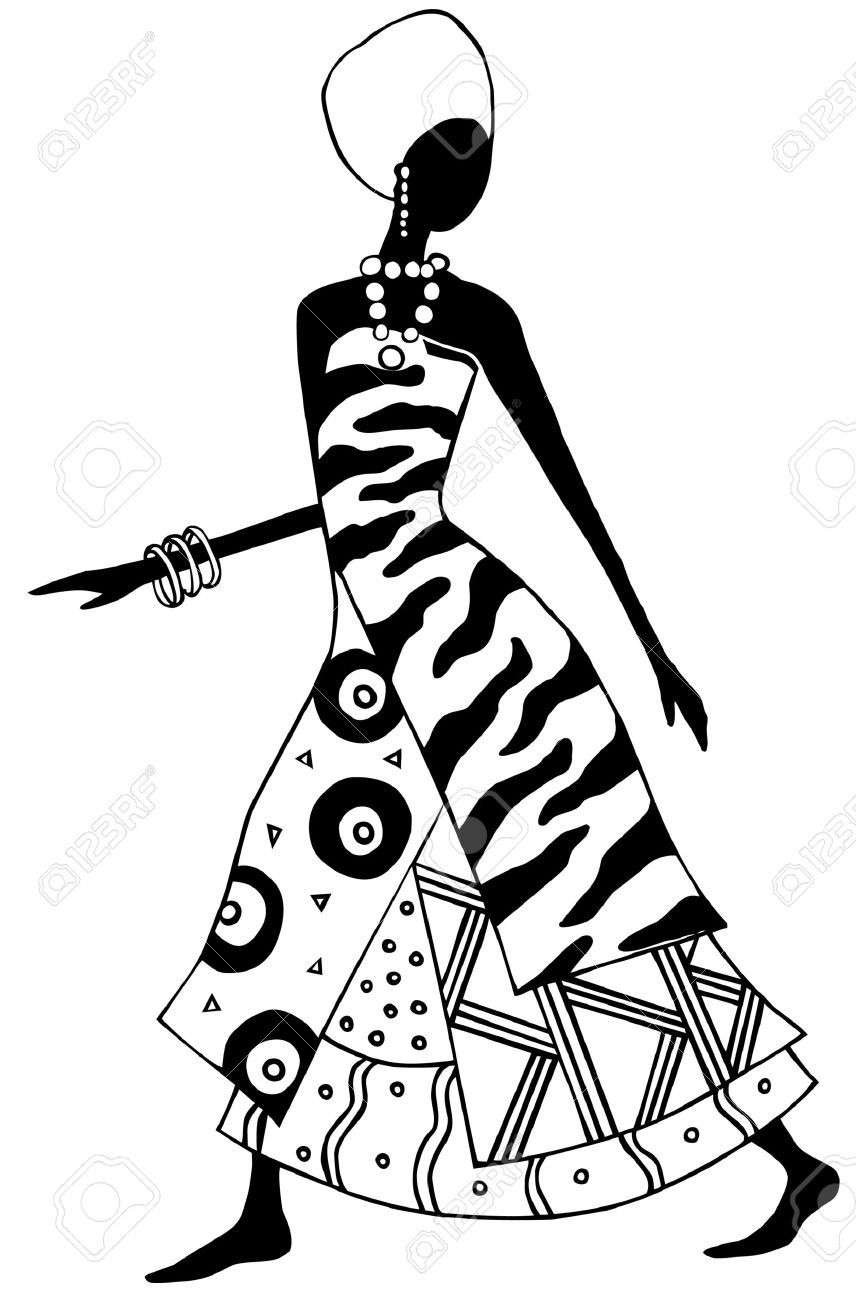 856x1300 Black And White African Woman Vector Crazy Quilting