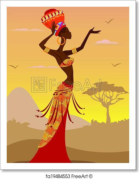 450x580 Free Art Print Of African Woman. Vector Illustration Of African
