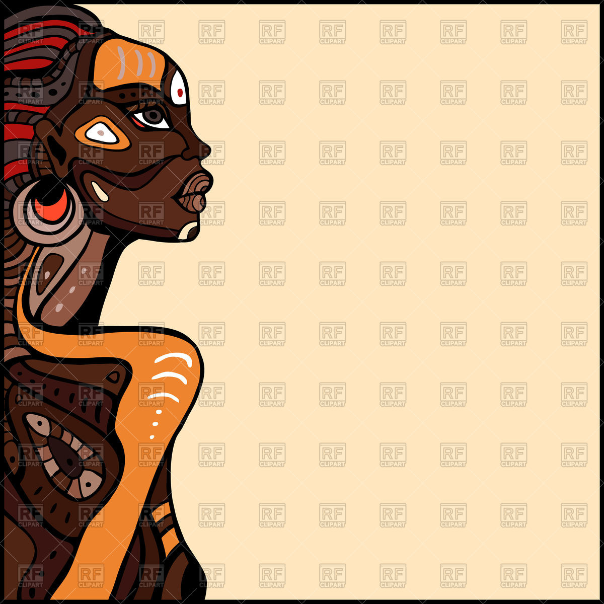 1200x1200 Hand Drawn Profile Of Beautiful Tribal African Woman Vector Image