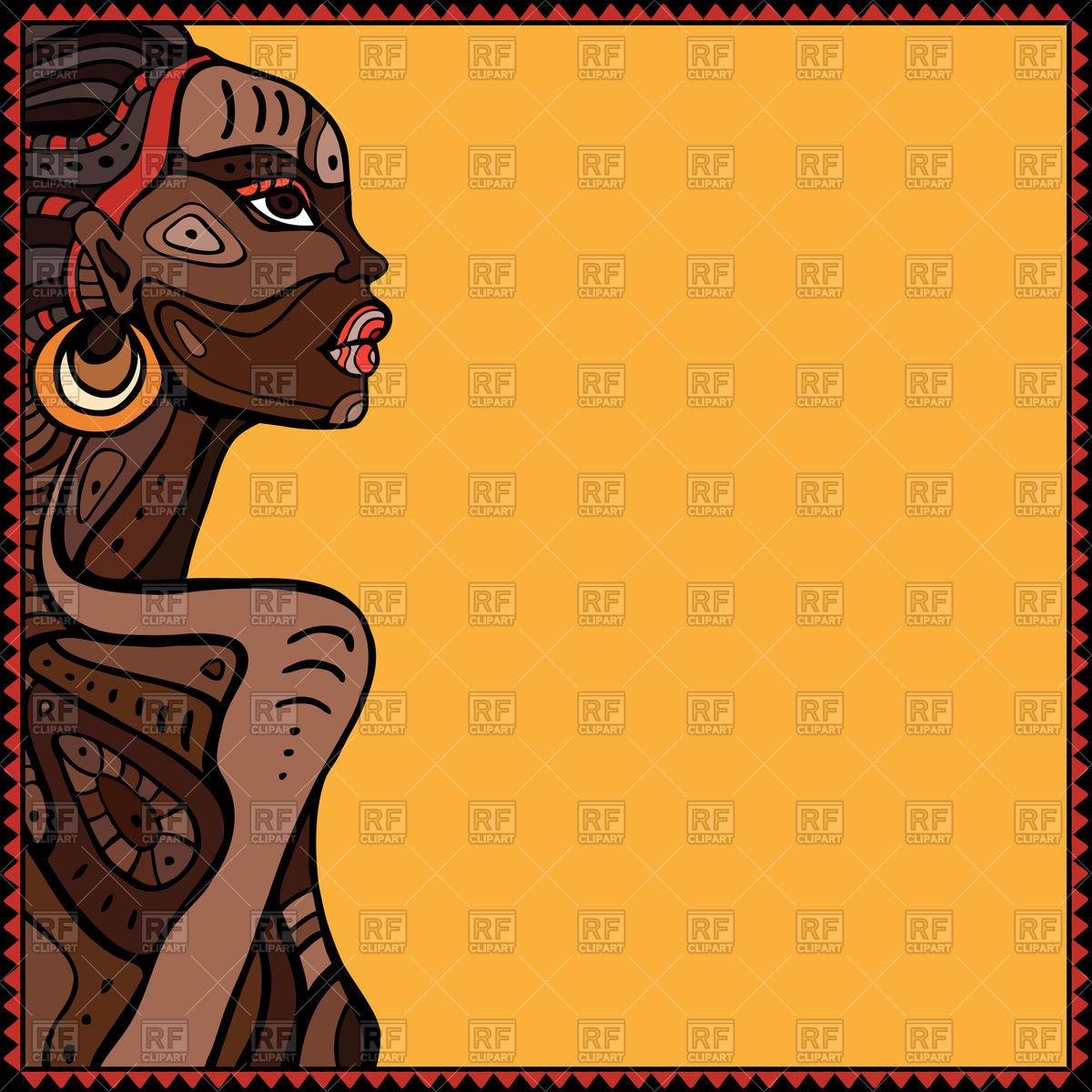 1200x1200 Profile Of Beautiful African Woman Vector Image Vector Artwork