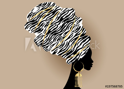 500x357 Vector Portrait Beautiful African Woman In Traditional Turban
