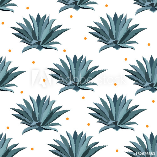 500x500 Blue Agave Vector Seamless Pattern. Background For Tequila Packs