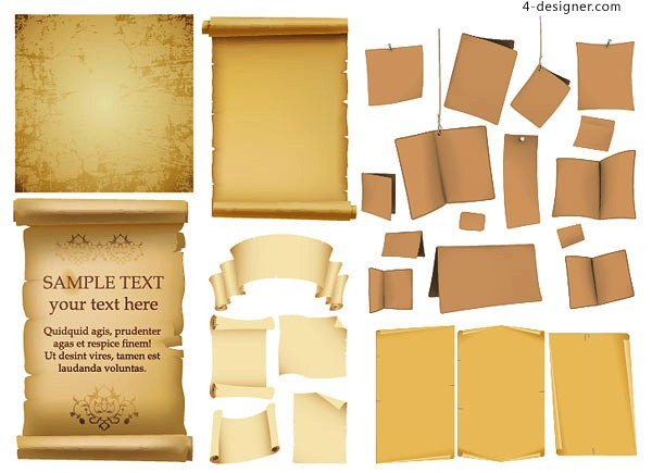 600x435 4 Designer Variety Useful Old Brown Paper Vector Material
