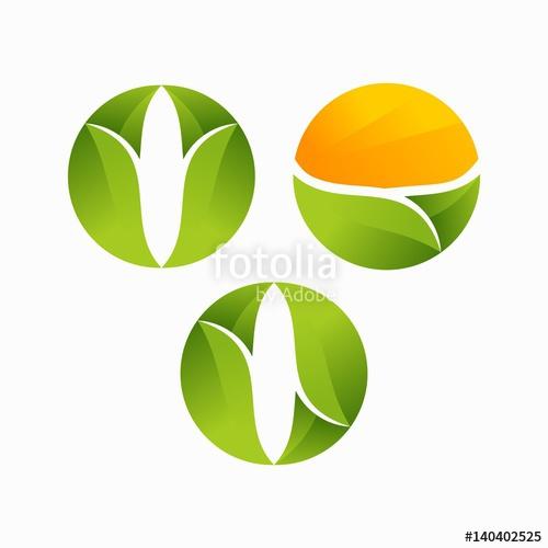 500x500 Modern O Initial Leaf, Agriculture Logo Vector Illustration Set