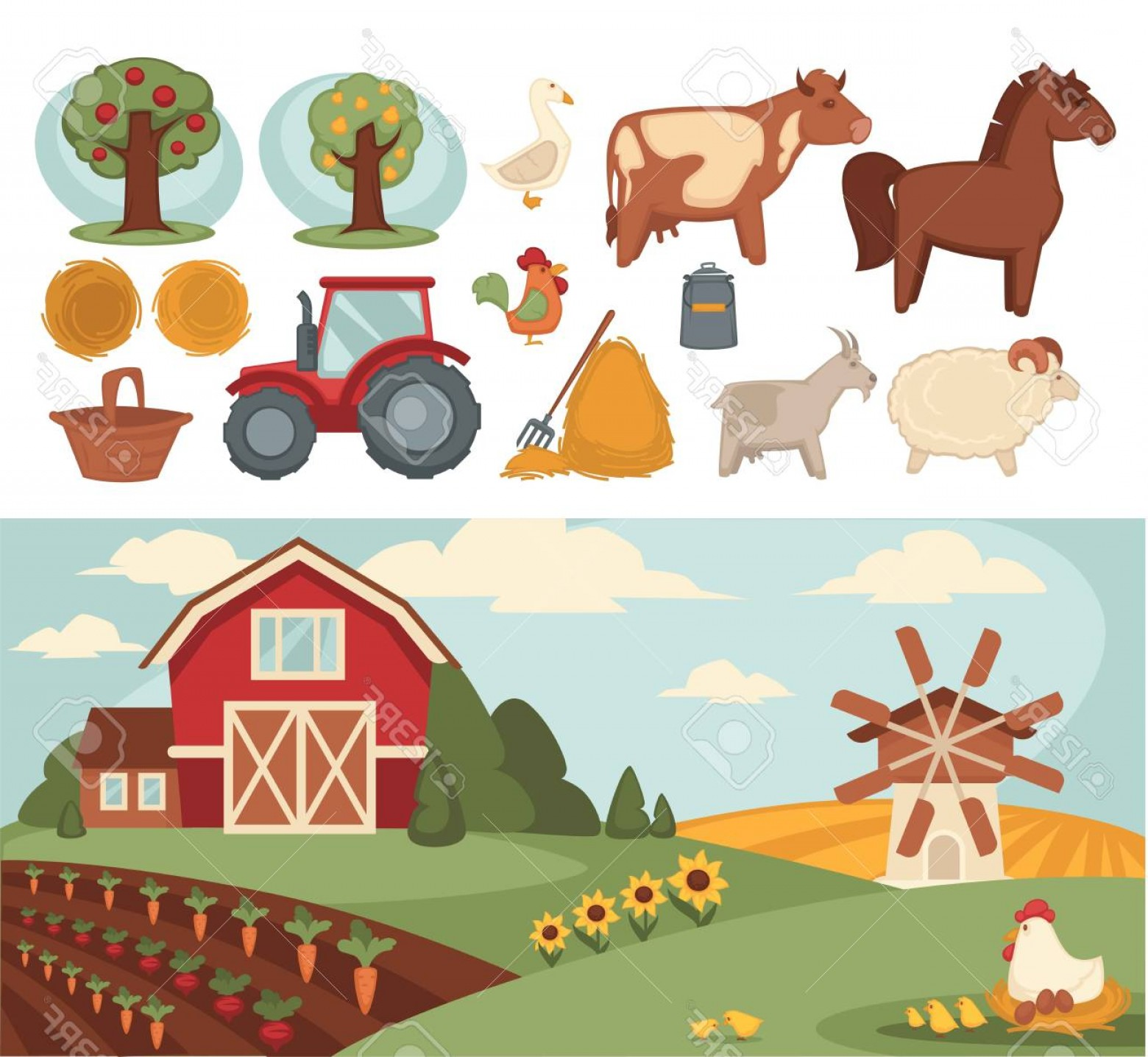 1560x1436 Photostock Vector Farm Household Or Farmer Agriculture And Cattle