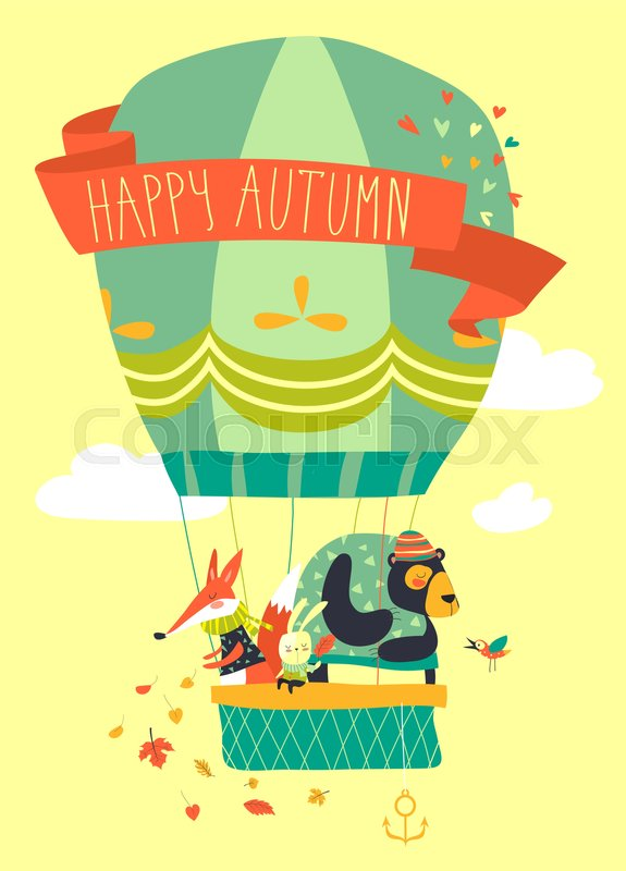 575x800 Funny Friendly Animals In Hot Air Balloon. Vector Illustration