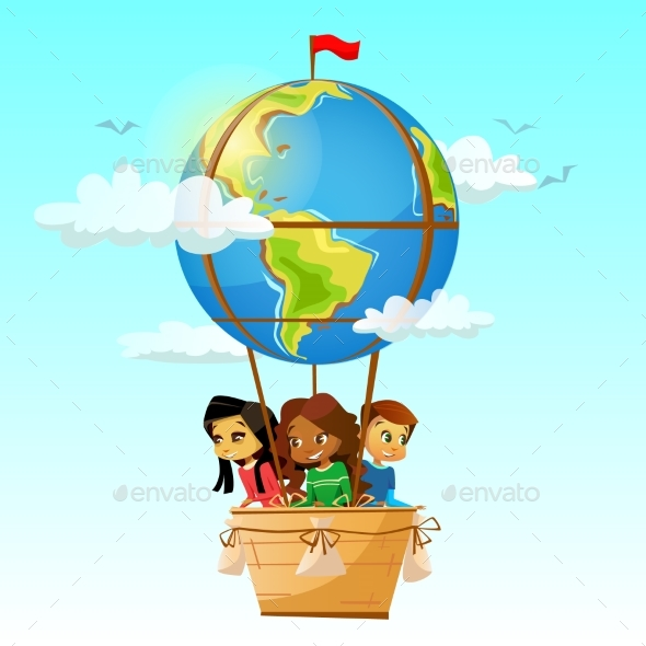 590x590 Children On Globe Hot Air Balloon Vector By Vectorpouch Graphicriver