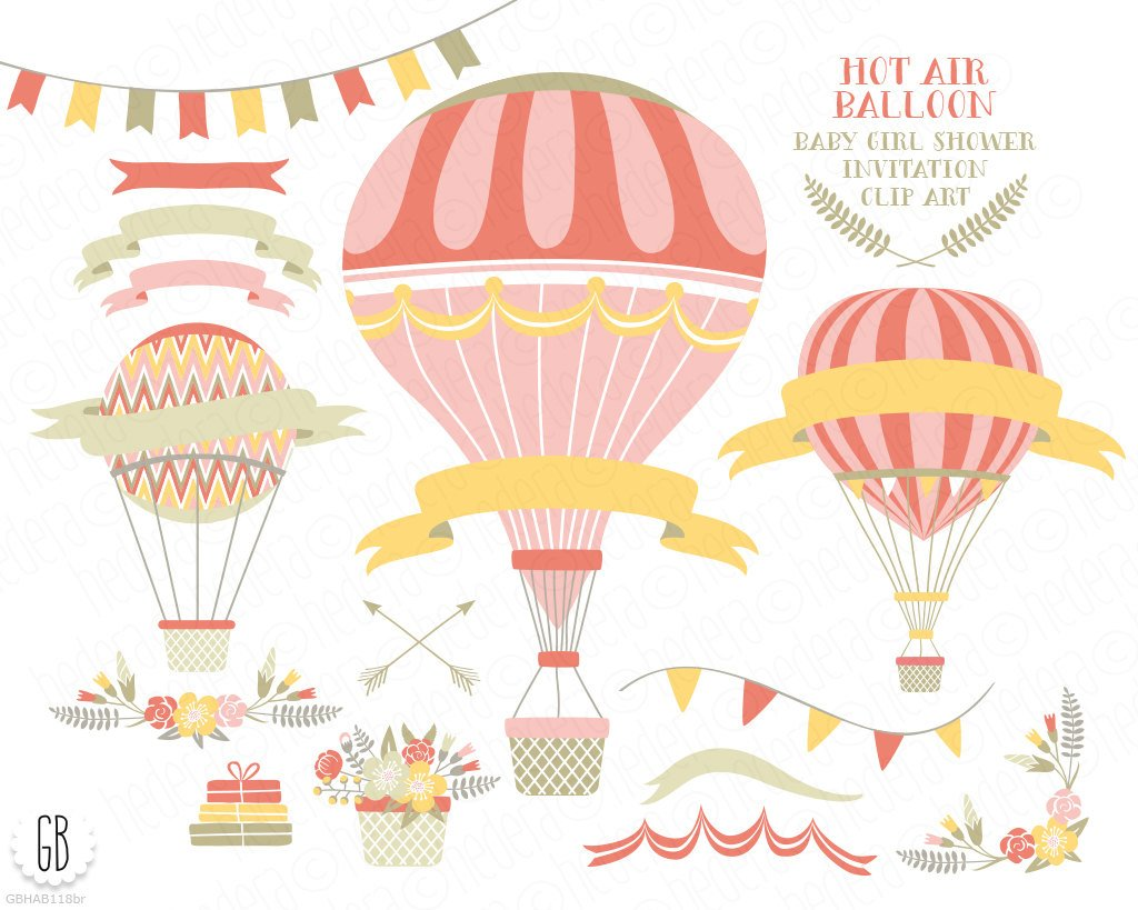 1024x819 Vintage Hot Air Balloons Vector Flower Basket Floral Etsy
