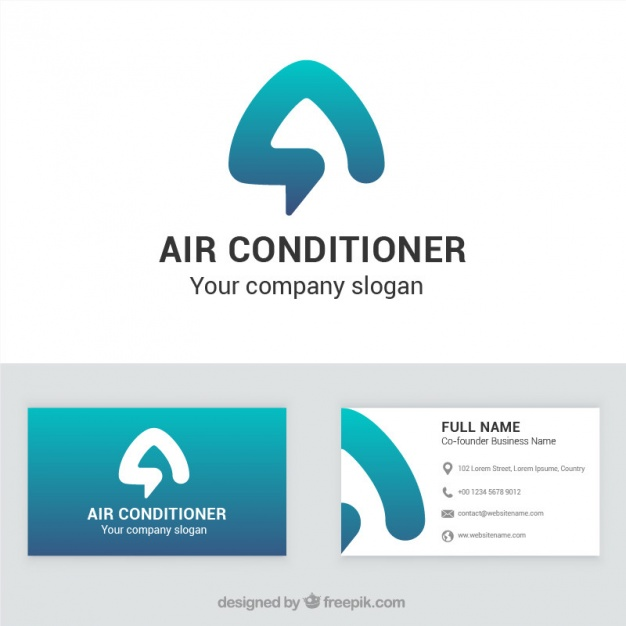 626x626 Air Conditioner Company Business Card Vector Free Download