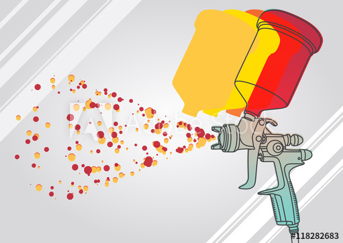 500x354 Vector Illustration Of The Airbrush Device, Simple Art For Web And