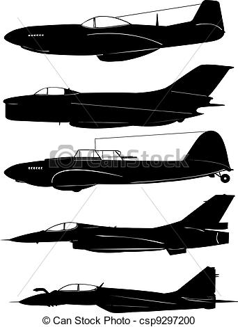 342x470 Aircraft. Fighter Aircraft In Silhouette.