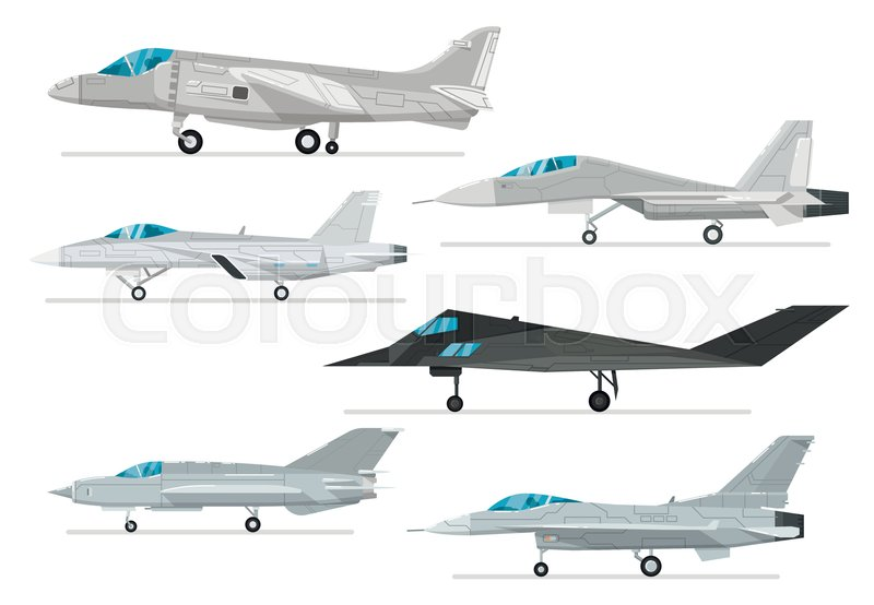 800x554 Military Jet Aircraft Isolated Set. Modern Fighter, Bomber And