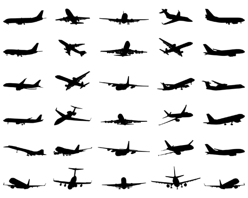 500x400 Silhouette Aircraft Set Vector 01 Free Download
