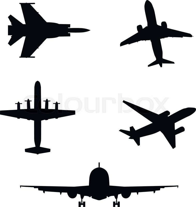 758x800 Vector Illustration Of Silhouette Of Airplanes Airbus Or Plane