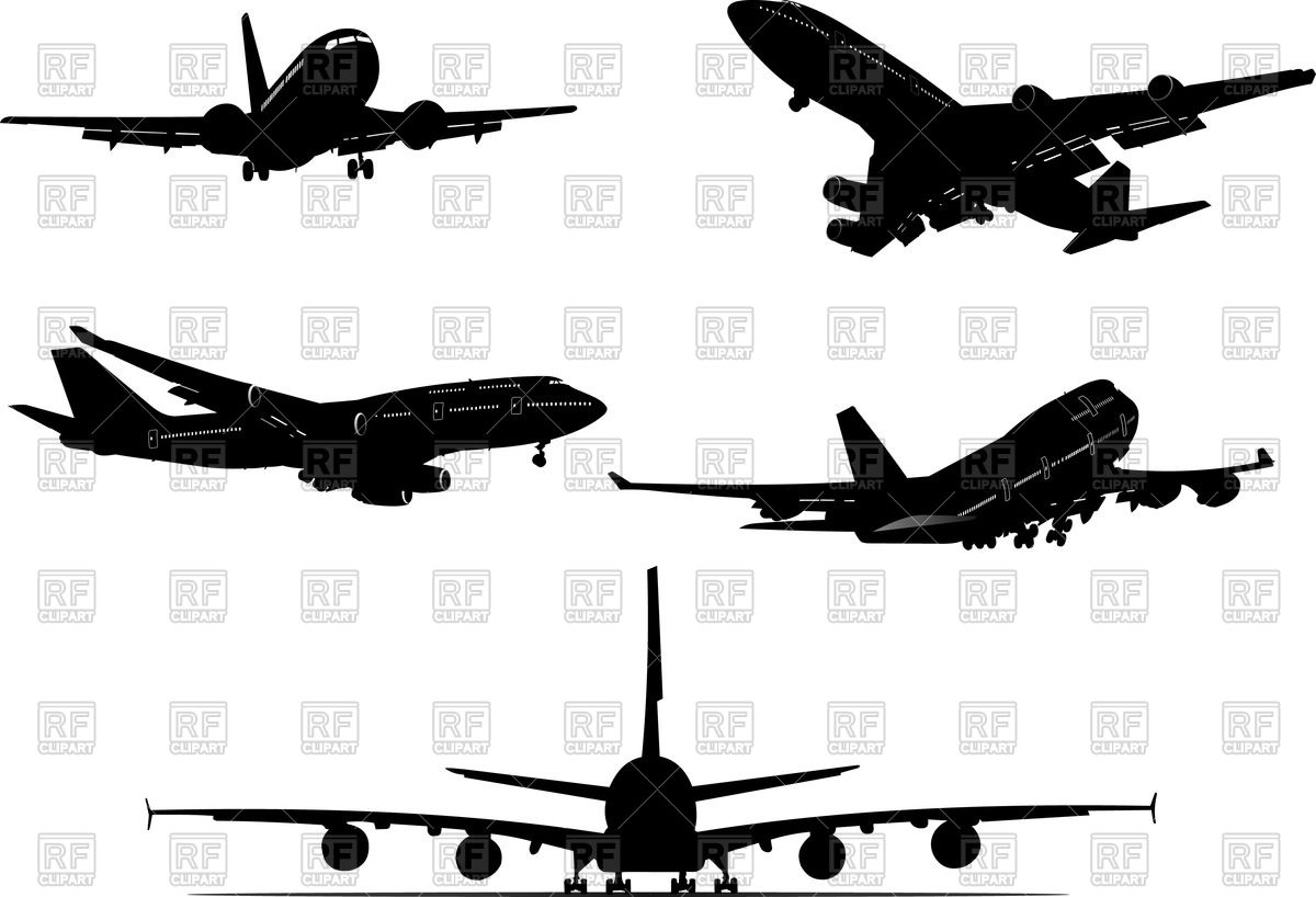1200x818 Aircraft Silhouettes , Differnt View Vector Image Vector Artwork