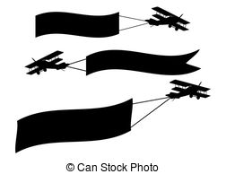 252x194 Airplane Banners. Vector Illustrations Of Airplanes In Flight Banners.