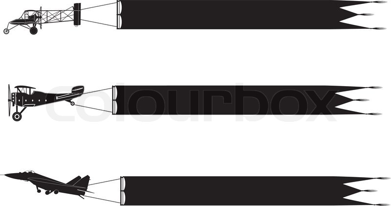 800x421 Airplane Silhouette With Banners Stock Vector Colourbox