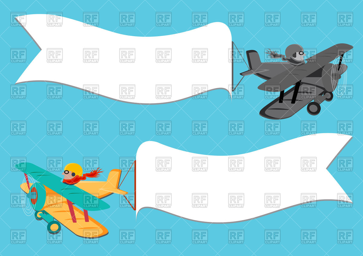 1200x848 Flying Vintage Plane With Banner Vector Image Vector Artwork Of