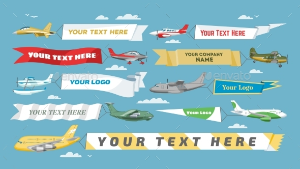 590x332 Plane Banner Vector Airplane Or Aircraft By Pantimetrok Graphicriver