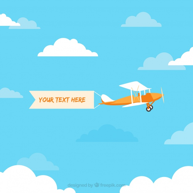626x626 Retro Airplane Flying With Banner Vector Vector Free Download
