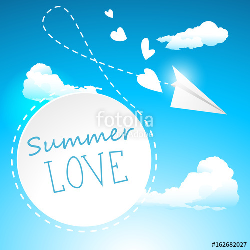 500x500 Summer Love Paper Airplane Banner Vector Illustration Love