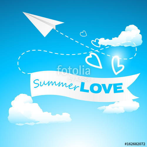 500x500 Summer Love Poster Paper Airplane Banner Vector Illustration