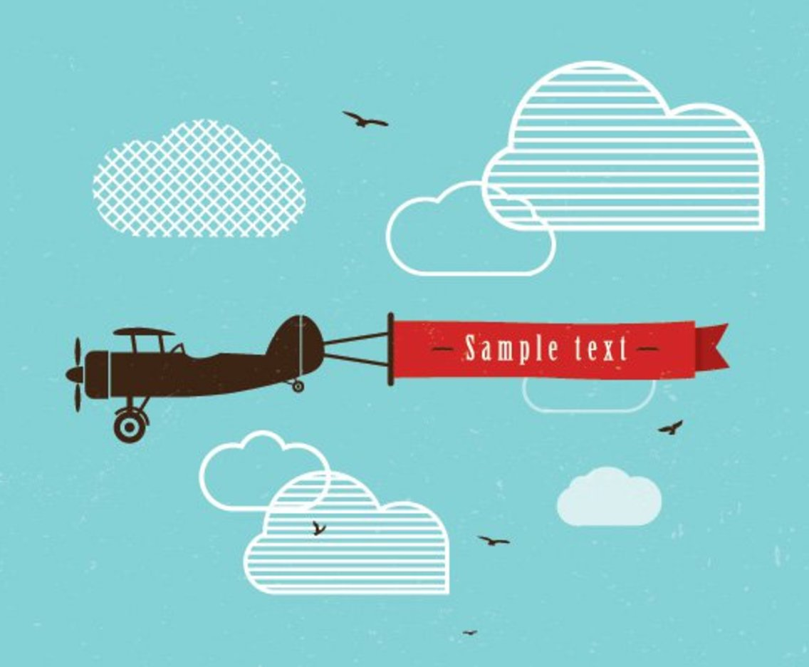 1136x936 Vintage Airplane Banner Vector Art Amp Graphics