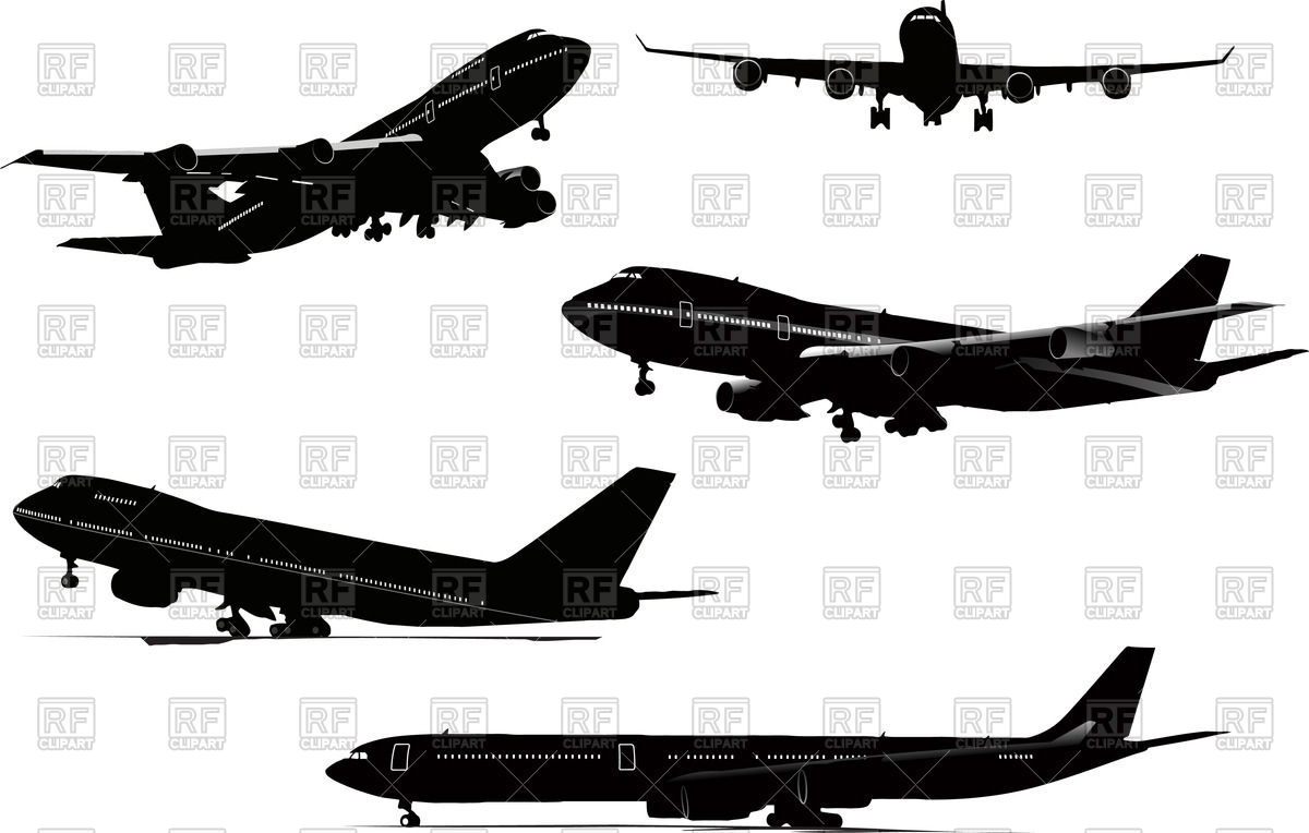 1200x764 Silhouettes Of Airplane (Take Off, Landing, On Airfield, Flying