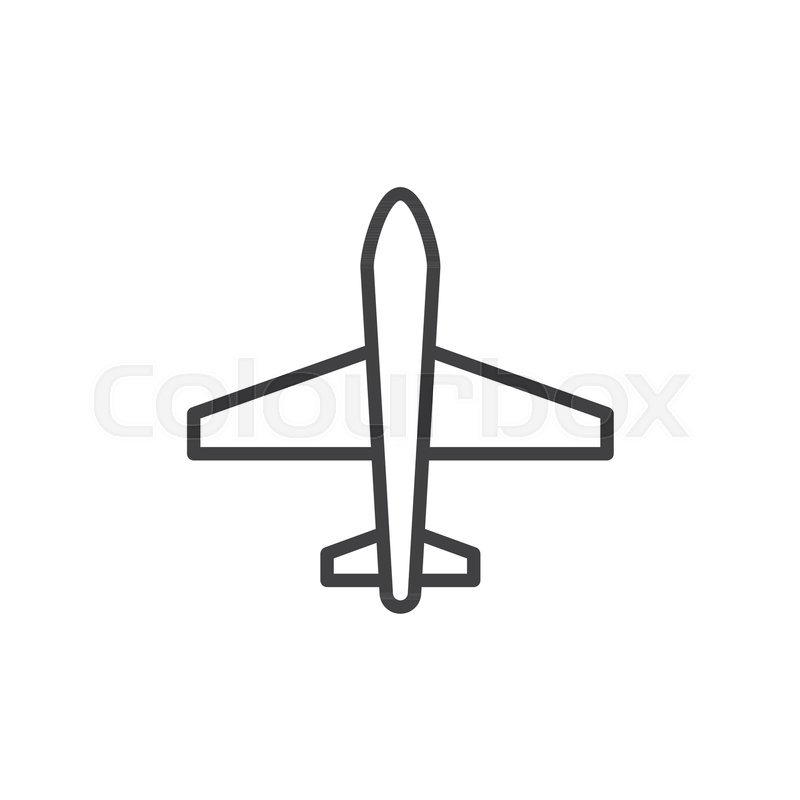 800x800 Airplane Outline Icon. Linear Style Sign For Mobile Concept And